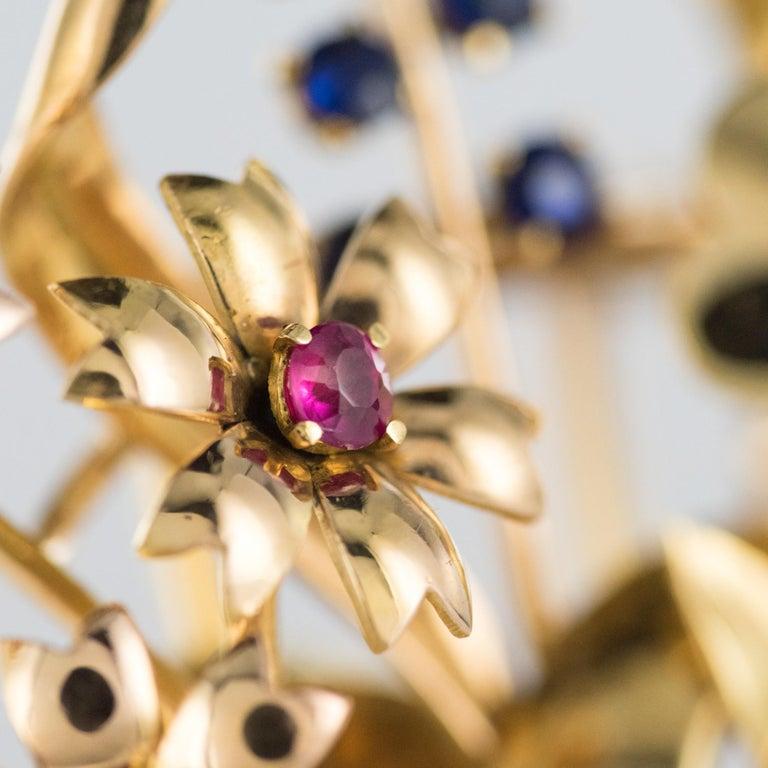 1950s Retro 18 Karat Gold Bouquet Precious Stones Brooch For Sale 3