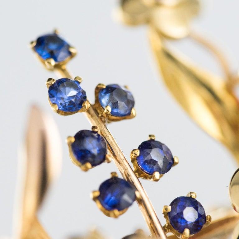 1950s Retro 18 Karat Gold Bouquet Precious Stones Brooch For Sale 4