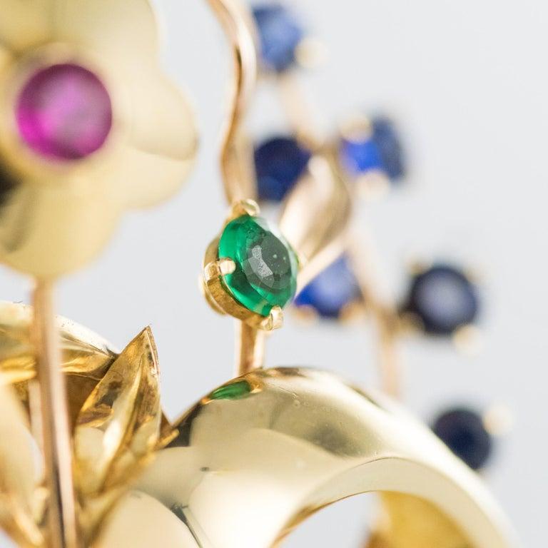 1950s Retro 18 Karat Gold Bouquet Precious Stones Brooch For Sale 5