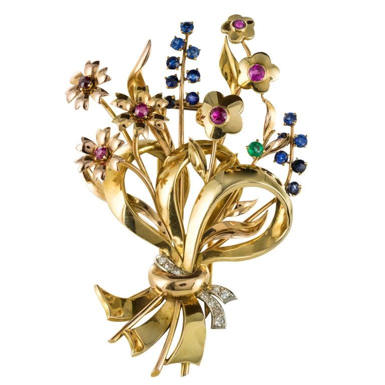 1950s Retro 18 Karat Gold Bouquet Precious Stones Brooch For Sale