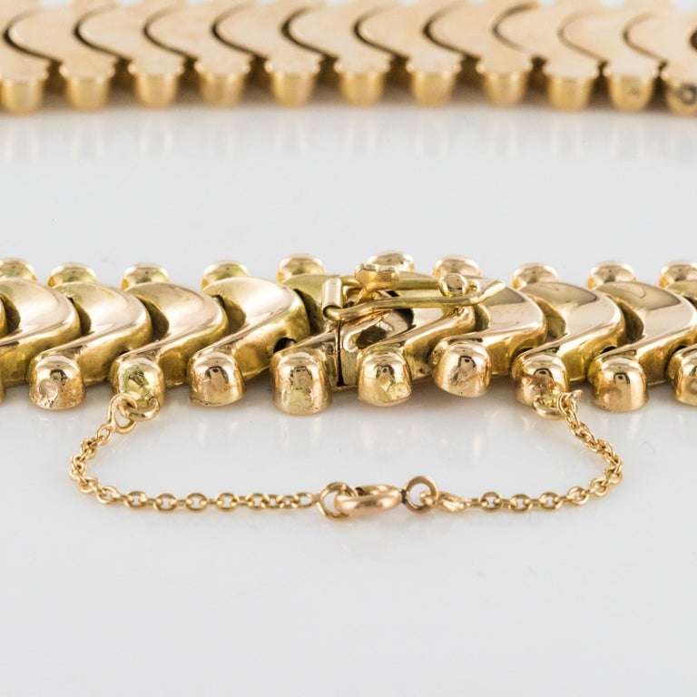 1950s Retro 18 Karat Yellow Gold Articulated Retro Necklace For Sale 10