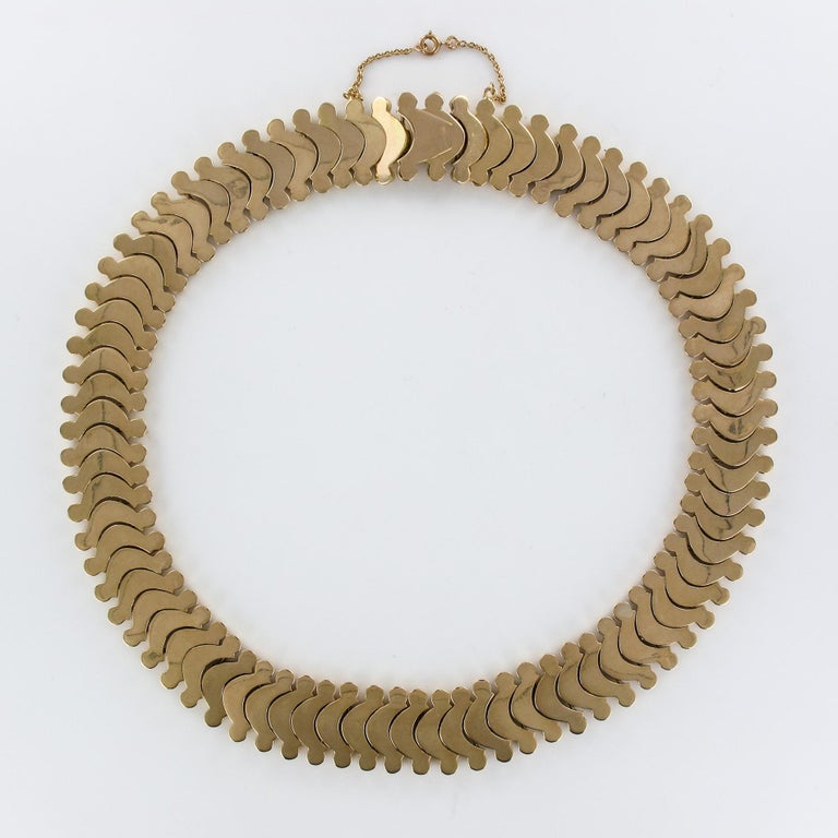 1950s Retro 18 Karat Yellow Gold Articulated Retro Necklace For Sale 11