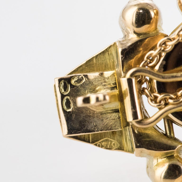 1950s Retro 18 Karat Yellow Gold Articulated Retro Necklace For Sale 12