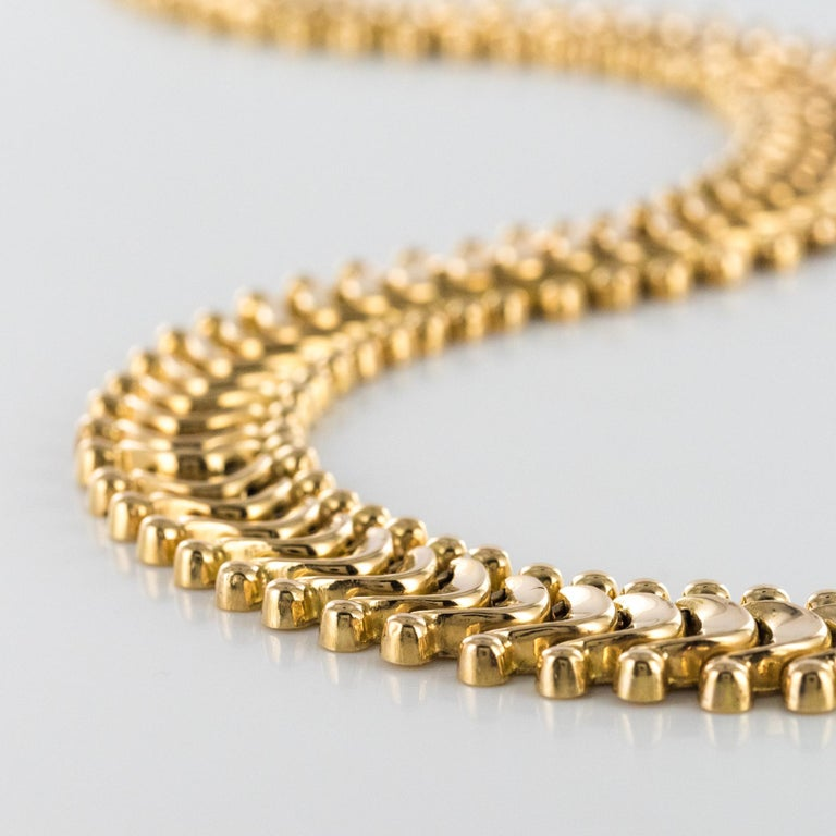 1950s Retro 18 Karat Yellow Gold Articulated Retro Necklace For Sale 3