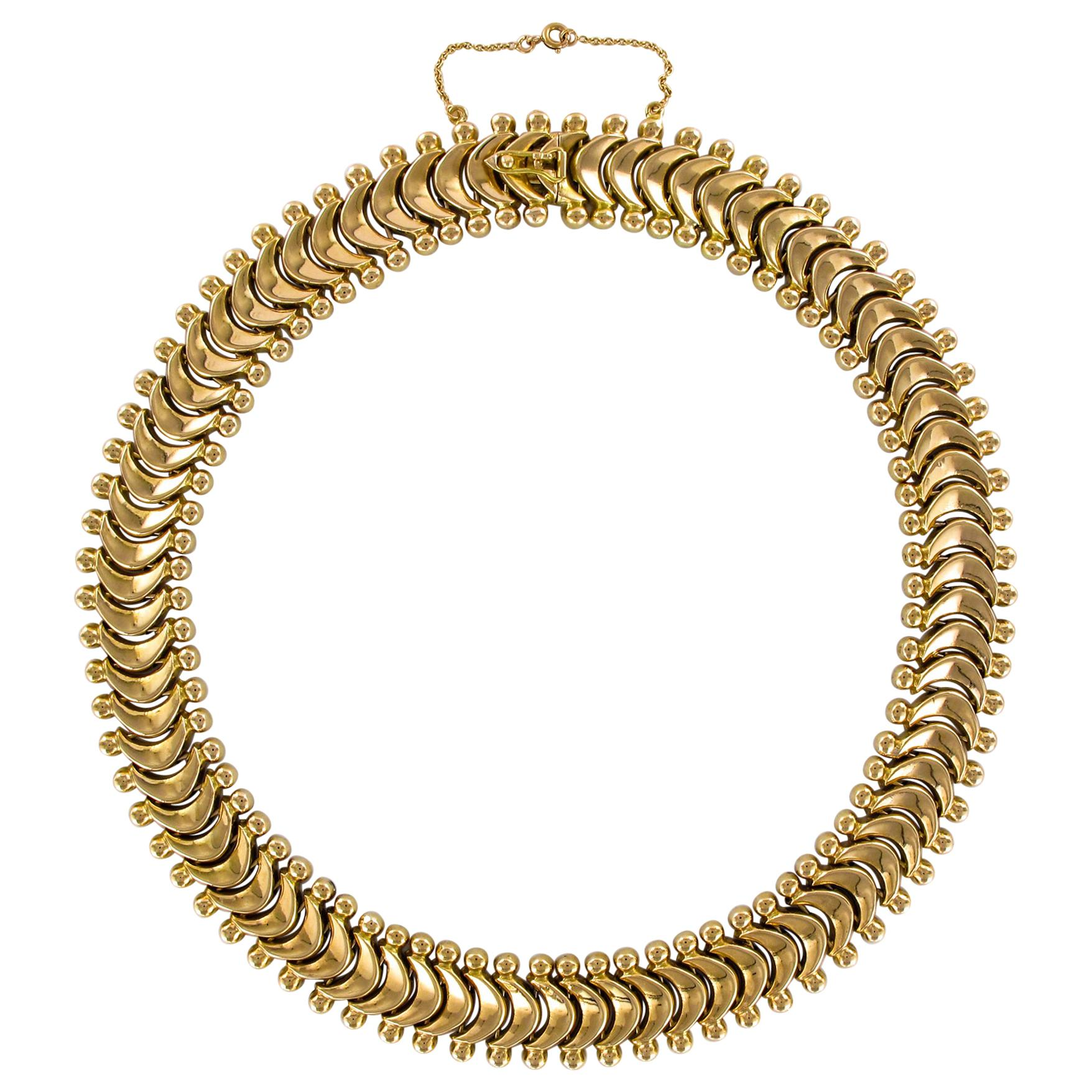 1950s Retro 18 Karat Yellow Gold Articulated Retro Necklace