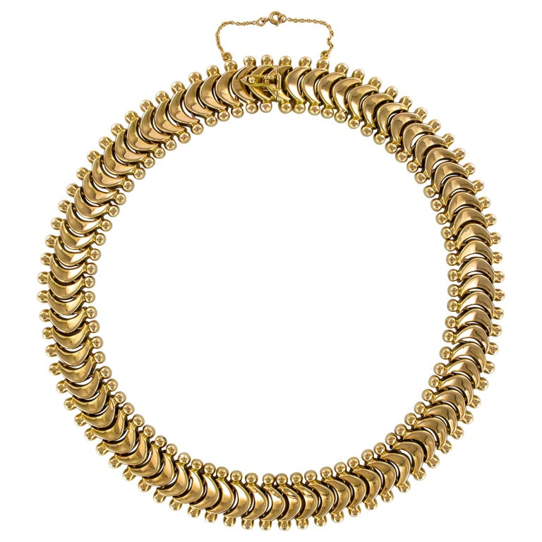 1950s Retro 18 Karat Yellow Gold Articulated Retro Necklace For Sale