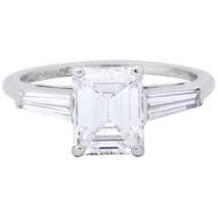 1950s Retro 2.03 Carat Diamond Platinum Three-Stone Engagement Ring GIA