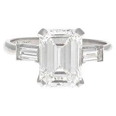 Retro 2.08 Carat GIA Emerald Cut Diamond Platinum Ring
