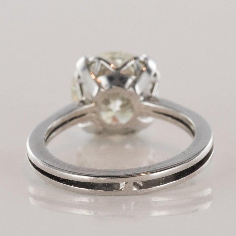 1950s Retro 3.20 Carat Diamond White Gold Solitary Ring For Sale 8