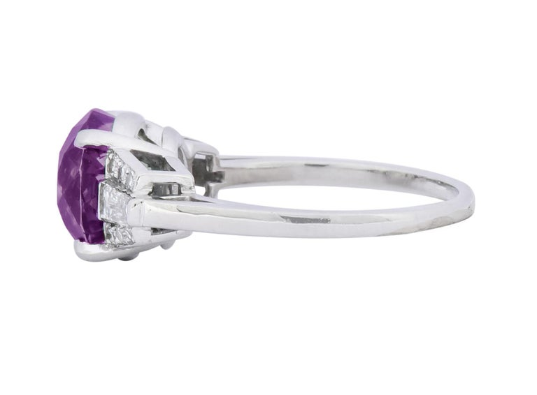 1950s Retro 5.47 Carat Alexandrite Diamond Platinum Cocktail Ring GIA For Sale 7