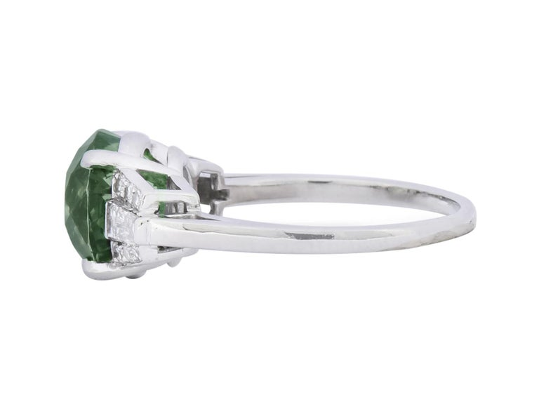 Women's or Men's 1950s Retro 5.47 Carat Alexandrite Diamond Platinum Cocktail Ring GIA For Sale