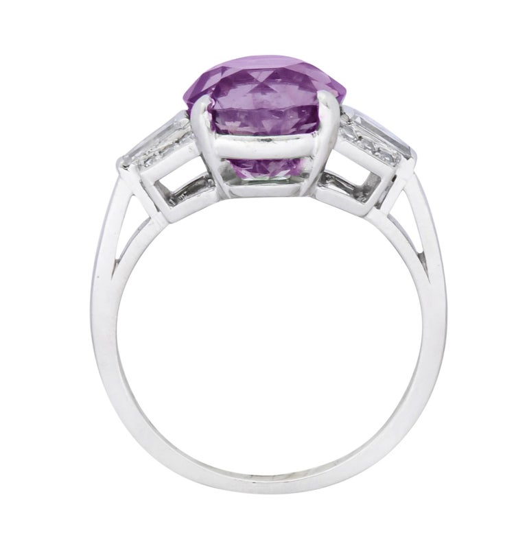 1950s Retro 5.47 Carat Alexandrite Diamond Platinum Cocktail Ring GIA For Sale 9