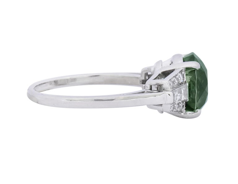 Round Cut 1950s Retro 5.47 Carat Alexandrite Diamond Platinum Cocktail Ring GIA For Sale