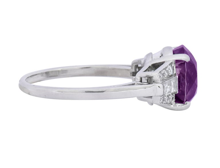 1950s Retro 5.47 Carat Alexandrite Diamond Platinum Cocktail Ring GIA For Sale 5
