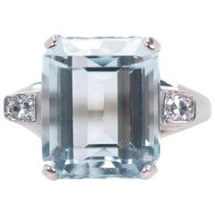 1950s Retro 6 Carat Aquamarine and Diamond, 14 Karat White Gold Engagement Ring