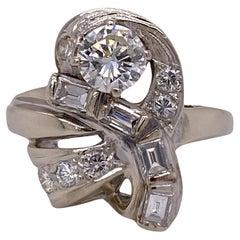 1950's Retro Diamond 14 Karat White Gold Vintage Cocktail Ring