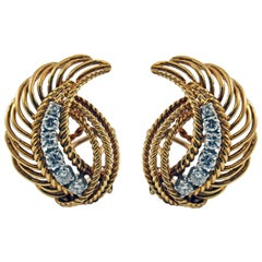 1950s Retro Diamond 18 Karat Gold Platinum Ear Clips