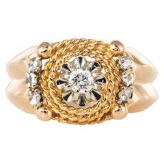 1950s Retro Diamond 18 Karat Yellow Gold Cord Ring