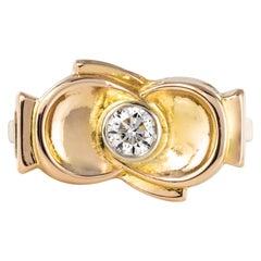 1950s Retro Diamond 18 Karat Yellow Gold Knot Ring