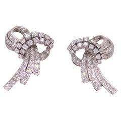 1950's Retro Diamond Palladium Vintage Ribbon Earrings Lever-Backs
