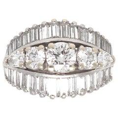 1950s Retro Diamond Platinum Cocktail Ring