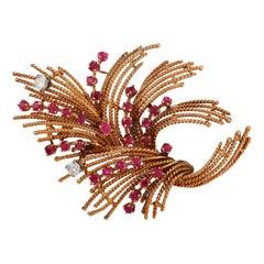 1950's Retro Diamond Ruby 18k Gold Parisian Rope Bouquet Brooch Pin