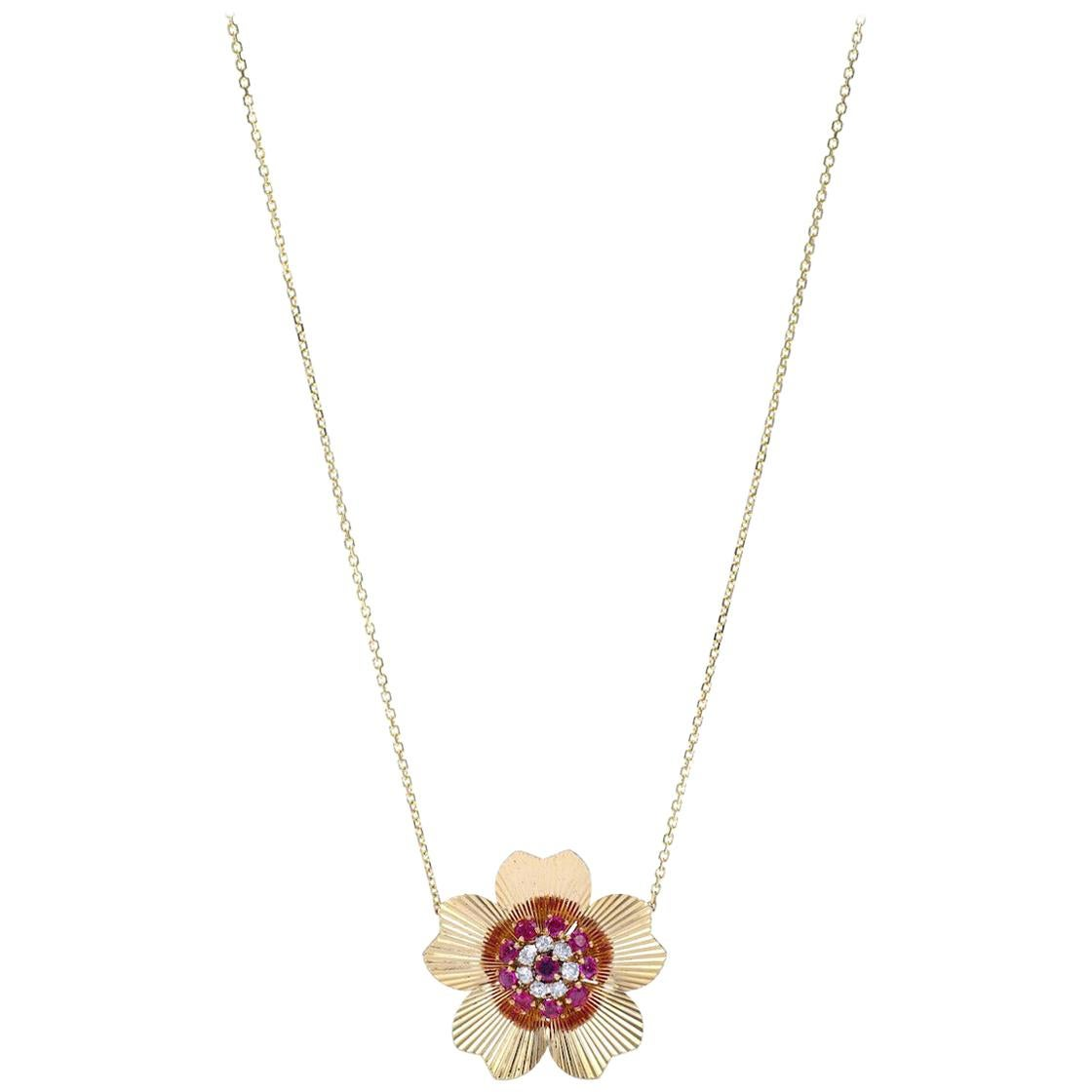 1950s Retro Diamond Ruby Yellow Gold Pendant Chain Necklace