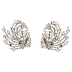 1950s Retro Diamonds 18 Karat White Gold Earrings