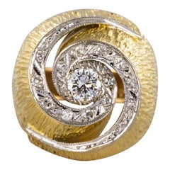 1950s Retro Diamonds 18 Karat Yellow Gold Swirl Ring