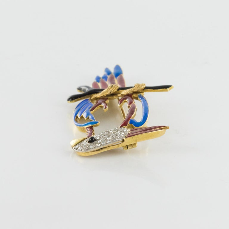 1950s Retro Enamel Diamonds 18 Karat Yellow Gold Parrot Brooch For Sale 6