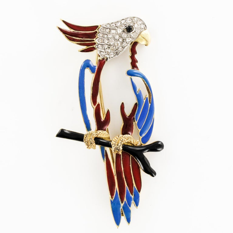 1950s Retro Enamel Diamonds 18 Karat Yellow Gold Parrot Brooch For Sale 13