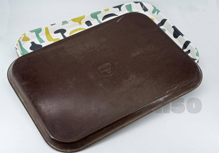 American 1950s Retro High School Lunch Trays Vintage Mid-Century Graphic Design Art Color For Sale