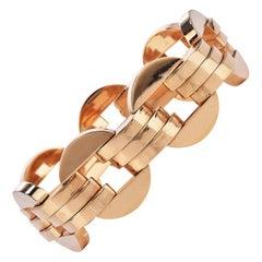 1950s Retro Round Links Vinatge 14K Gold Bracelet
