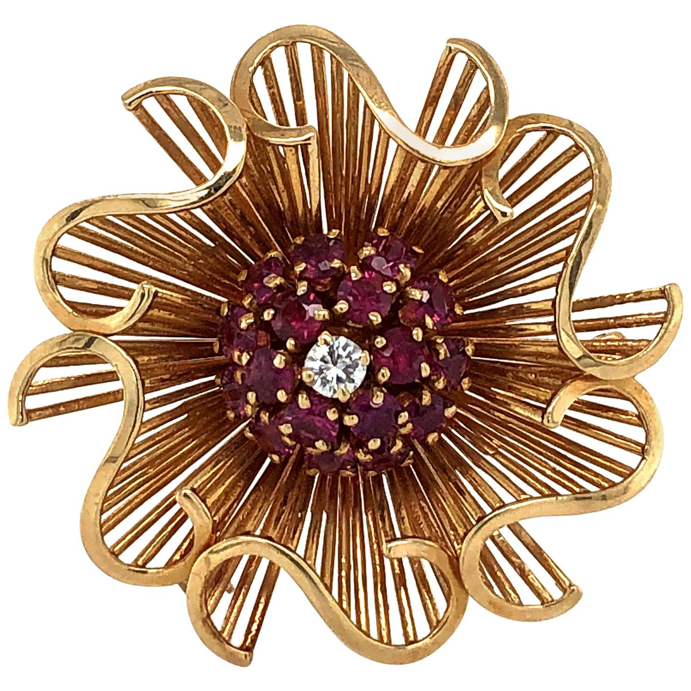1950s Retro Ruby and Diamond Brooch in Red Gold