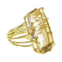 1950s Retro Tank Diamond Citrine 18k Yellow Gold Tank Fashion Cocktail Ring