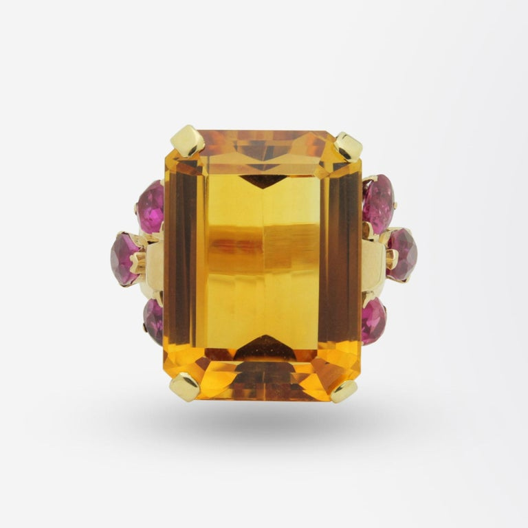 Octagon Cut 1950s, Retro Tiffany & Co, Citrine and Ruby Cocktail Ring For Sale