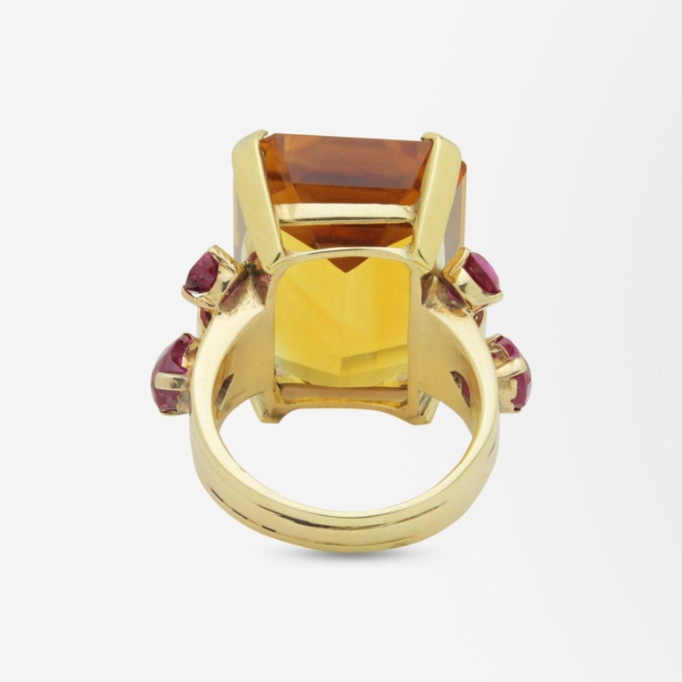 1950s, Retro Tiffany & Co, Citrine and Ruby Cocktail Ring In Good Condition For Sale In Brisbane, AU