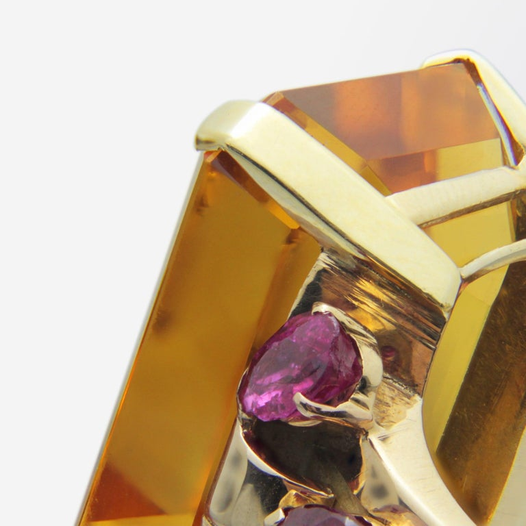 Women's 1950s, Retro Tiffany & Co, Citrine and Ruby Cocktail Ring For Sale