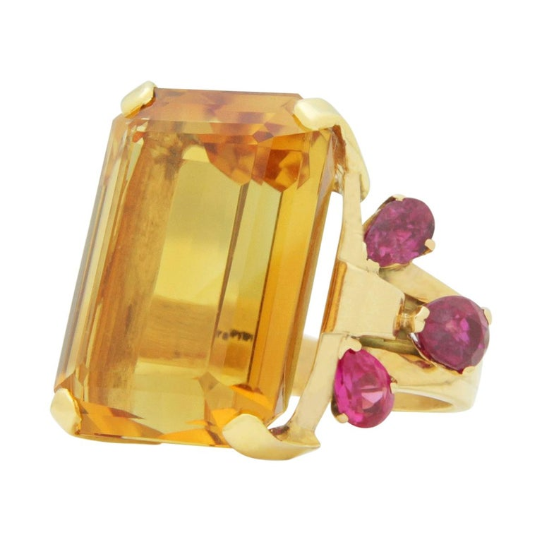 1950s, Retro Tiffany & Co, Citrine and Ruby Cocktail Ring For Sale