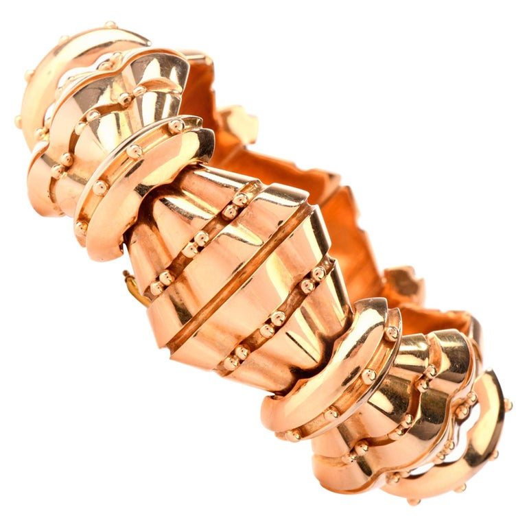1950s Retro Wide Artisan Barrel Geometric 18 Karat Rose Gold Bracelet For Sale