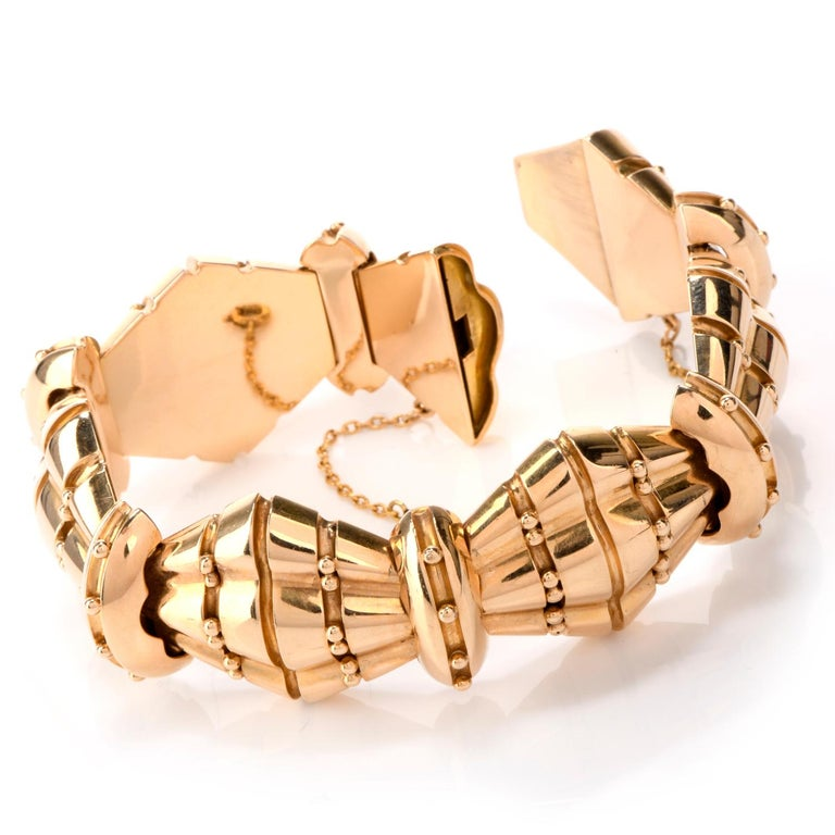 Women's or Men's 1950s Retro Wide Artisan Barrel Geometric 18 Karat Rose Gold Bracelet For Sale