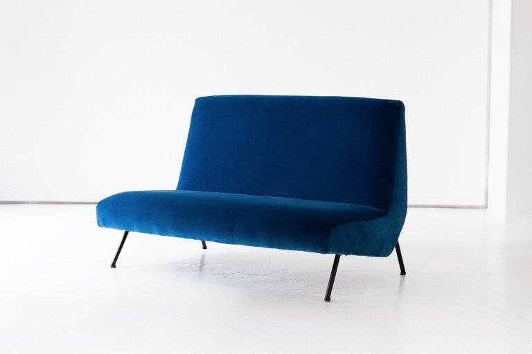 1950s Reupholstered Italian Sofa in Blue Velvet 1