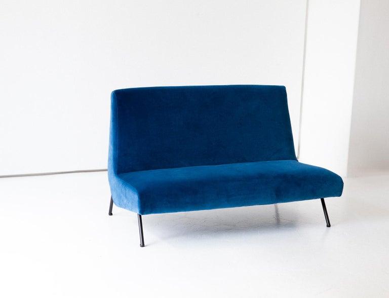 1950s Reupholstered Italian Sofa in Blue Velvet 2