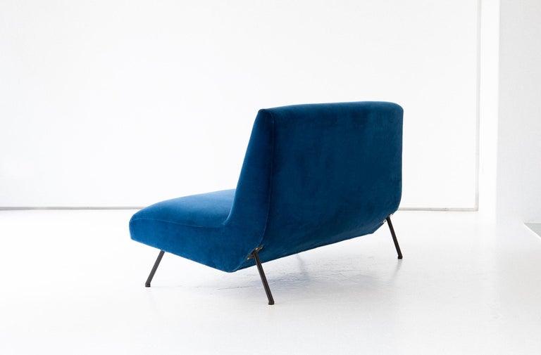 1950s Reupholstered Italian Sofa in Blue Velvet 3
