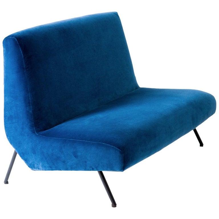 1950s Reupholstered Italian Sofa in Blue Velvet