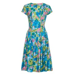 1950s Riddella Green Blue and Pink Floral Cotton Dress