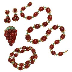 1950s Robert Barre Carnelian Emerald Jewelry Suite