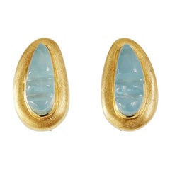 1950s Roberto Burle Marx Forma Livre Carved Aquamarine and Gold Earrings