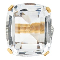 1950's Rock Crystal Quartz Diamond 18 Karat Two-Tone Gold Statement Ring