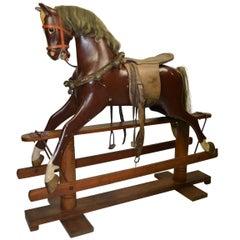 1950s Rocking Horse on Wooden Base